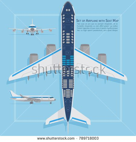 Stock Vector: Aircraft seats plan top view. Business and economy classes airplane indoor information map. Vector illustration. Chart plane seat, plan, of aircraft passenger -