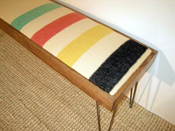 Modern Hairpin Leg Bench with Vintage Wool Blanket and Stained Pine Frame (Similar to Hudson Bay and Pendleton Glacier National Park) on Etsy, $185.00