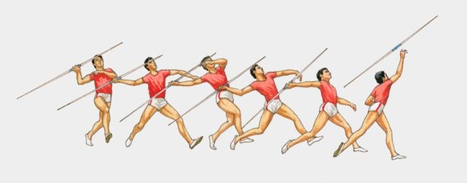 Sequence of illustrations showing male athlete throwing javelin