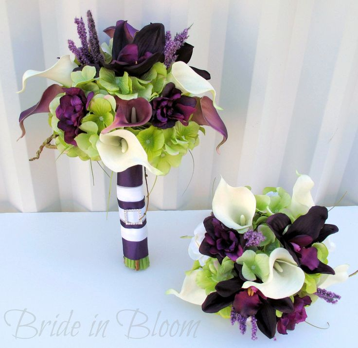 Plum Wedding bouquet - 3 piece set - Real touch Wedding flowers calla lily orchid Bridal bouquet. $210.00, via Etsy.