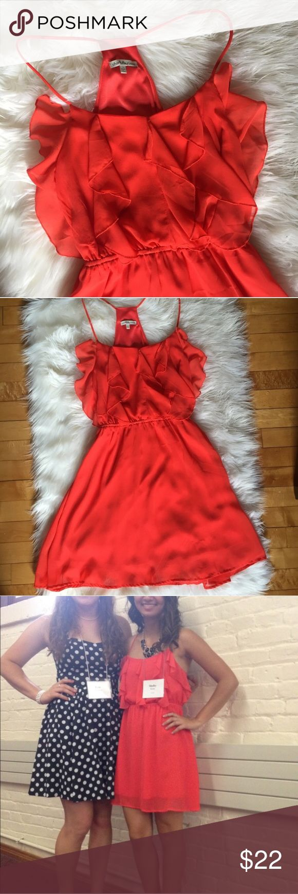 Charlotte Russe Front Ruffle Dress This dress is so cute! Ruffle on the front with thin spaghetti straps. Bright spring orange. Only worn a few times. Bundle two items to save! Offers welcome. Charlotte Russe Dresses Mini