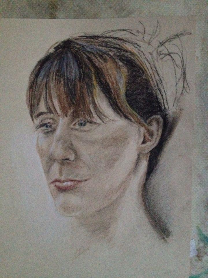 Helen art class model - pastels - Nov 2014