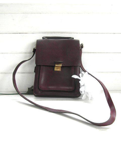 French vintage oxblood leather messenger bag by frenchvintagedream, $45.00