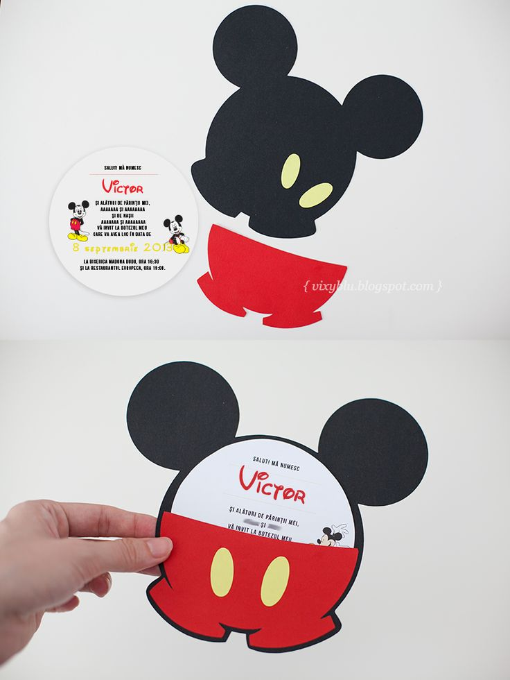 Invitatii Mickey Mouse, invitatii botez handmade, Mickey