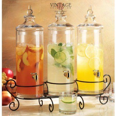 Amazon Com Set Of Three Glass Gallon Drink Dispenser With