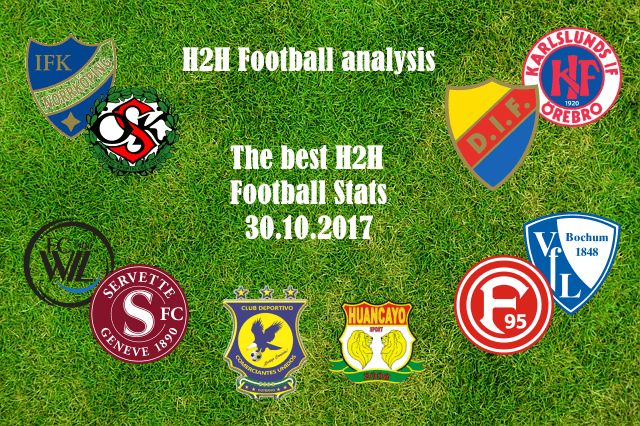 H2H Football analysis The best H2H Football Stats for 30.10.2017 Our team is analyzing all H2H Football records for the next days, in order to bring you the best h2h selection. However, to cut your time in search of the best h2h Football record, we are publishing what we think that is special or unusual. We are going with traditional 1×2 records, over 2.5, under 2.5, btts-Yes or No. When we notice something interesting in past performance and stats between two teams we are publishing.  …