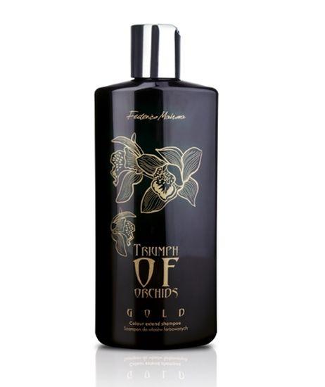 Triumph of Orchids - Zlato - Šampón na barvené vlasy - s přírodním složením, navržen speciálně pro barvené vlasy, které jsou často podrobovány ošetření v kadeřnictvích - díky obsahu arganového oleje, výtažku z orchideje a rostlinným bílkovinám účinně regeneruje a hydratuje poškozené prameny vlasů a zabraňuje třepení konečků - při pravidelném používání reguluje tvorbu kožního mazu, což dodává pocit svěžesti a pohodlí - zabraňuje krepatění vlasů - vhodný pro každodenní použití Objem: 200 ml