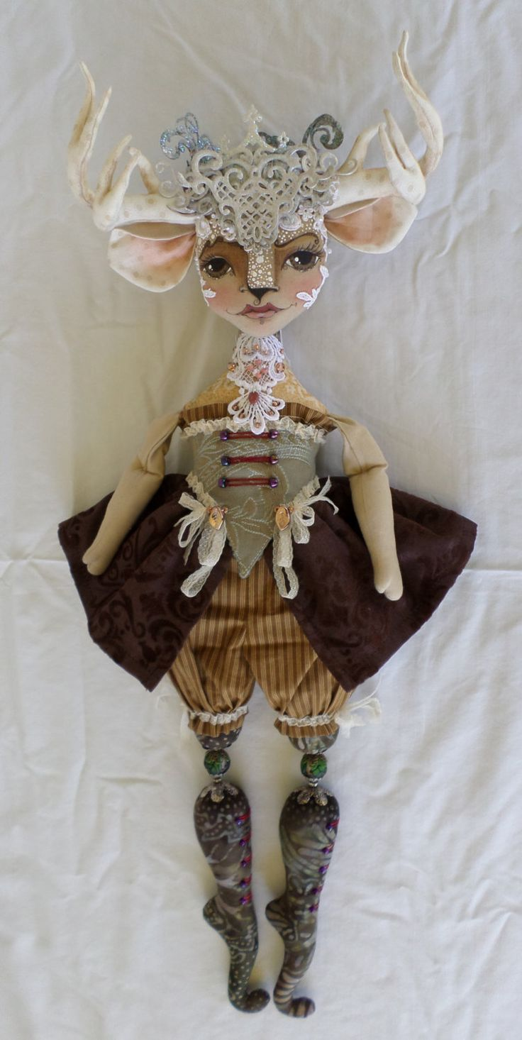 Deer Miss Millicent - Deer Doll PDF Sewing Patterns - Cloth Art Doll Pattern - Deer Antler and Crown -Paula McGee Paula's Doll House by paulasdollhouse on Etsy