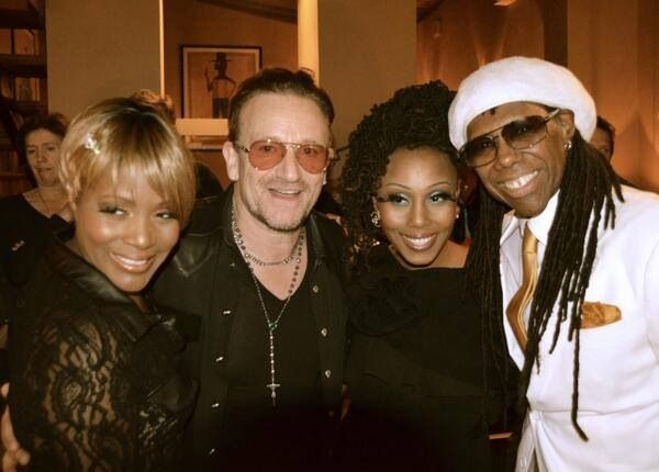 My friend Kimberly Davis with Bono and Nile Rodgers of Chic