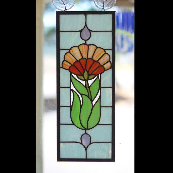 Panneau de verre art deco fleur par helixartandglass sur for Miroir vitrail modeles