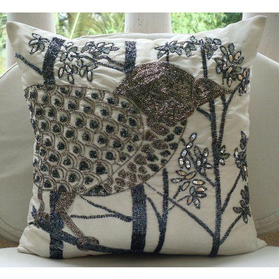 """White Art Silk 18""""X18"""" Sequins & Beaded Bird Pillow Covers - Birdy Heaven"""