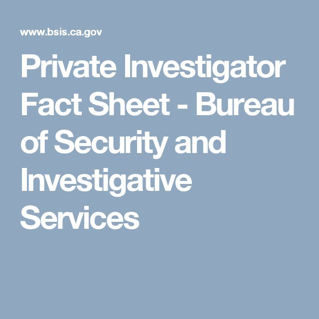 Private Investigator Fact Sheet - Bureau of Security and Investigative Services