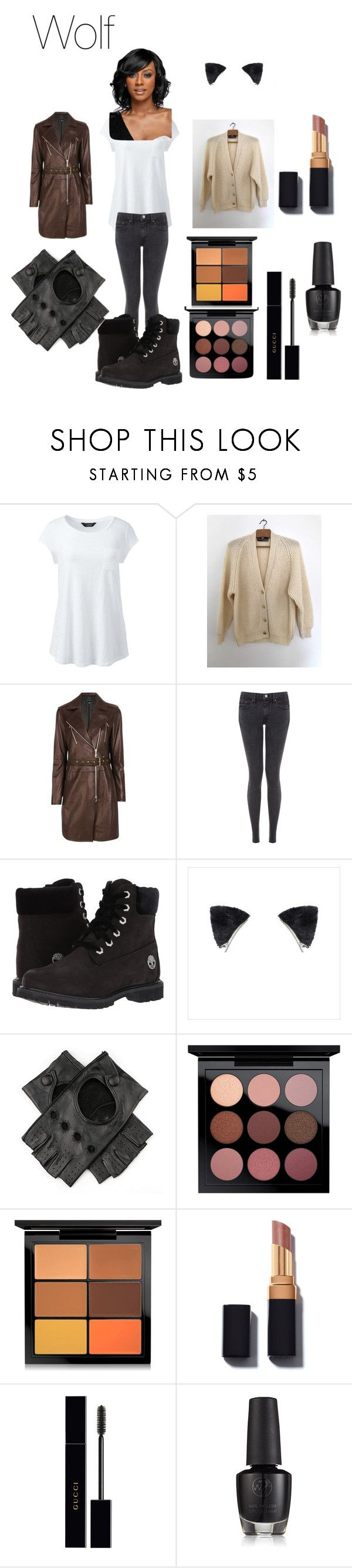 """Wolf From Wolf Song Animatic Youtube"" by tori-camilleri on Polyvore featuring Lands' End, Manoukian, Joseph, Timberland, Black, MAC Cosmetics, Gucci, WithChic and plus size clothing"