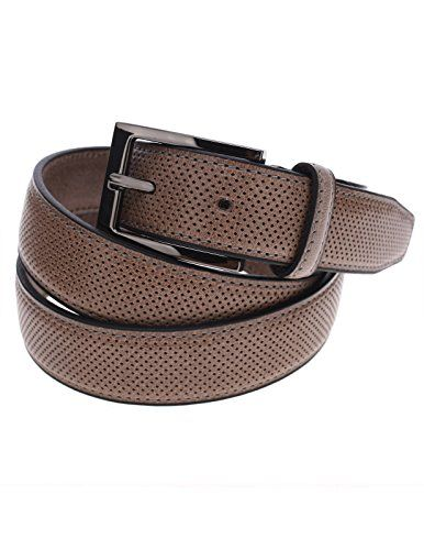 FLATSEVEN Mens Perforated Genuine Leather Belt with Rectangular Metal Buckle (Y405), Beige  #FLATSEVEN #Men #clothing #fashion #outfits #belts #accessories