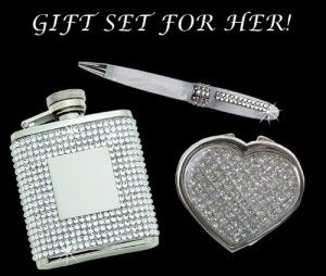 Awesome 21st Birthday Gifts: Glitter Galore Heart Compact Mirror and White Pen w/ Crystal and Flask