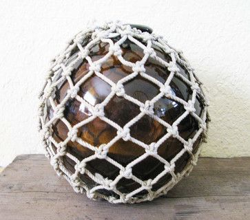 Dark Root Beer Amber Vintage Glass Fishing Float With Net by Big Dog Vintage beach-style-accessories-and-decor