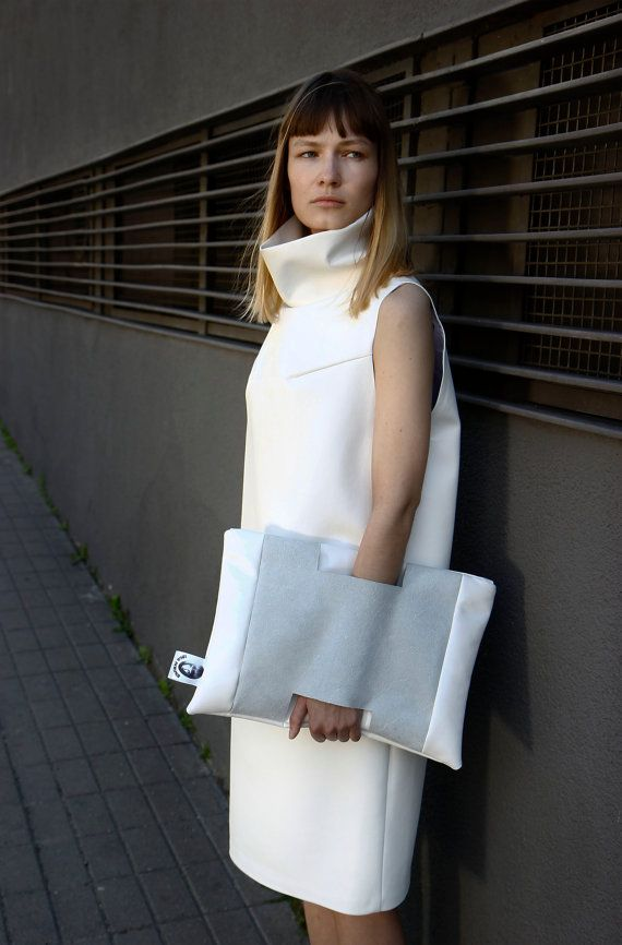 White Clutch Womans clutch bag small white clutch by IngaSkripka