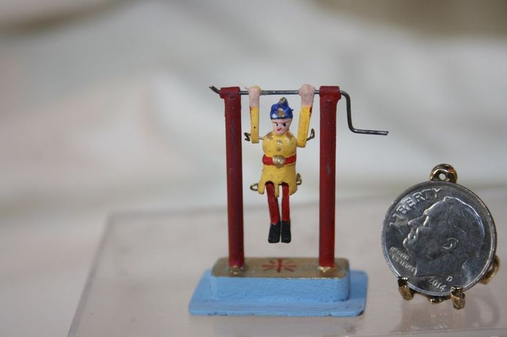 Replica of an antique Victorian child's circus acrobat toy by artist Lew Kummerow. Lew loves to collect antique toys in real life and some (like this one) he duplicates in miniature! The acrobat's legs and arms are jointed and when you turn the crank ~ it actually WORKS.   eBay! #antiquetoys