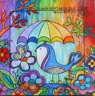 Rainbow Above You painting by Melanie Douthit... bird with umbrella. Happy Art by www.melaniedouthit.com