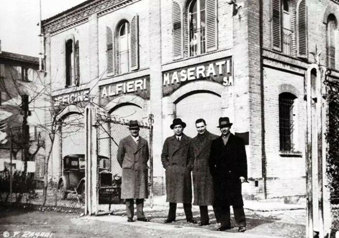 "The Maserati brothers outside of Alfieri Maserati's first workshop, 1913. Photos courtesy Maserati. On December 1, 1914, brothers Alfieri, Ettore and Ernesto Maserati formed a new business in Bologna, Italy, called the ""Società Anonima Officine Alfieri Maserati,"""