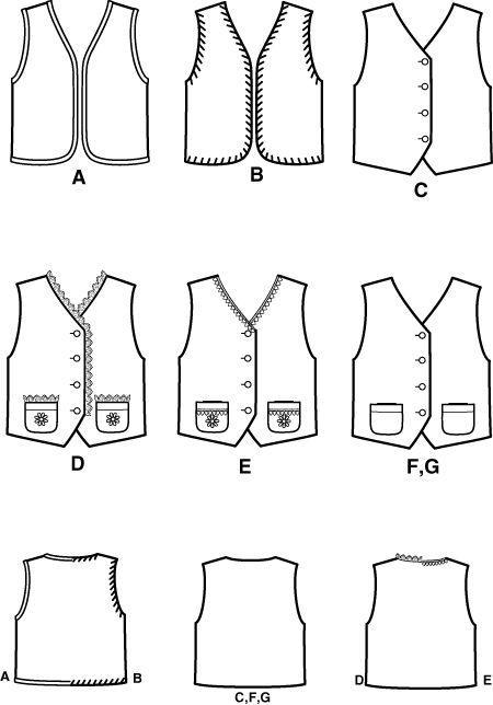 Unisex child vest pattern