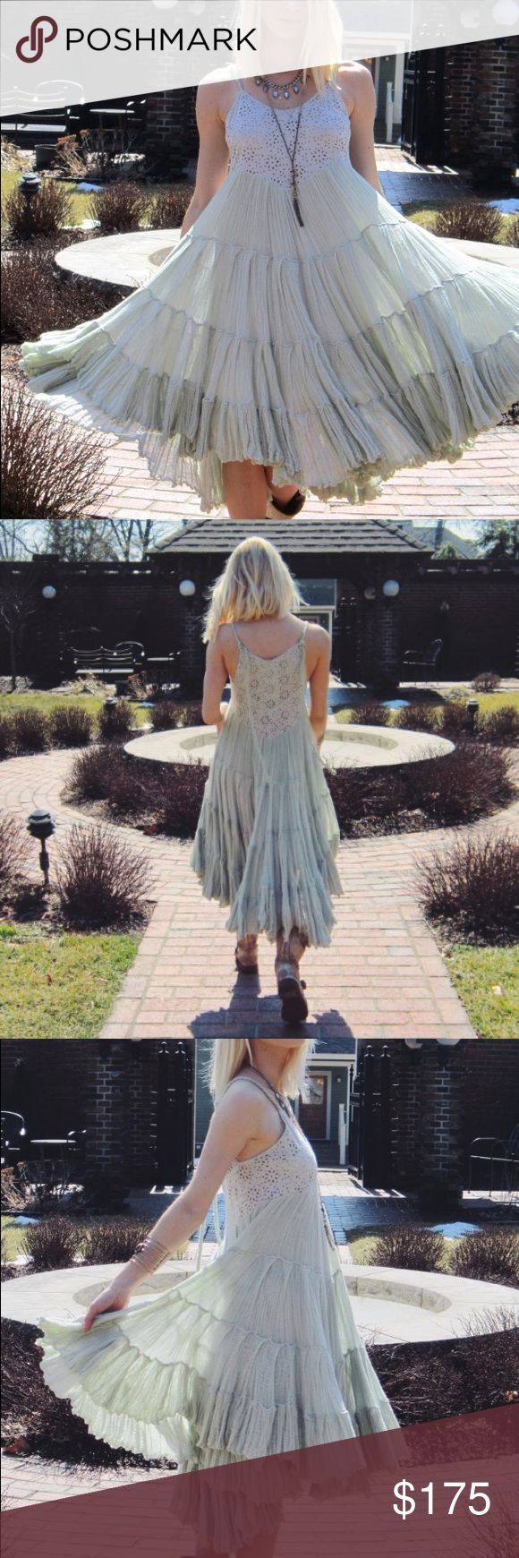 Free people beach mint crochet and gauze dress This dress is in great condition it's a great piece to have in your closet Free People Dresses