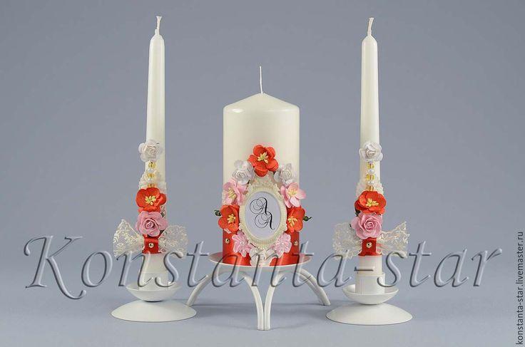 Купить Свадебные свечи с монограммой в рамочке - ярко-красный, свечи с монограммой, свечи с надписью, свадьба