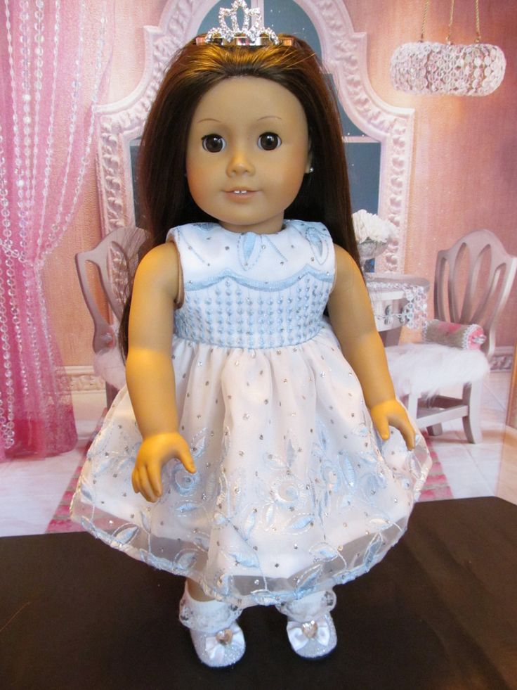 Party Dress for 18''Dolls Like American Girl and others, Pretty White and Soft Blue Embroidered Dress,Great for Parties and the Holidays by SewManyThingsbyNancy on Etsy