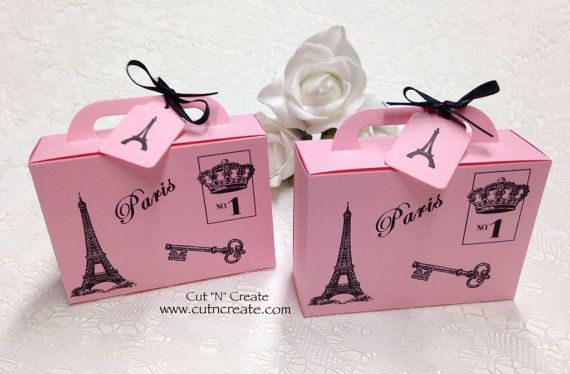 Suitcase Favor Box Suitcase Favor Suitcase Boxes Paris Travel Eiffel Tower Pink Ribbon Favor Boxes Handmade By Cut N Create Please read the