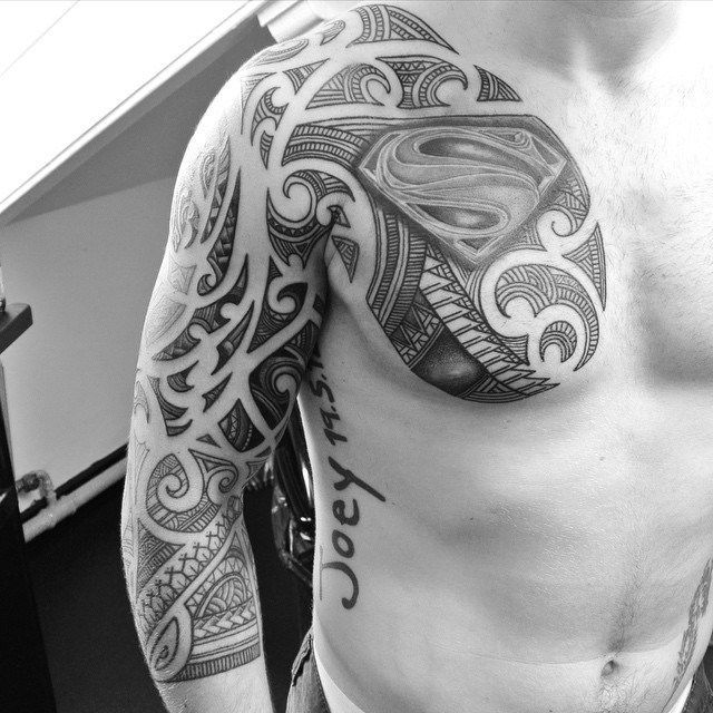 7 Best Maori Tattoos Images On Pinterest: Chest And Sleeve Maori Superman Tattoo