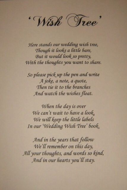 wish tree poem    a decorative alternative to message