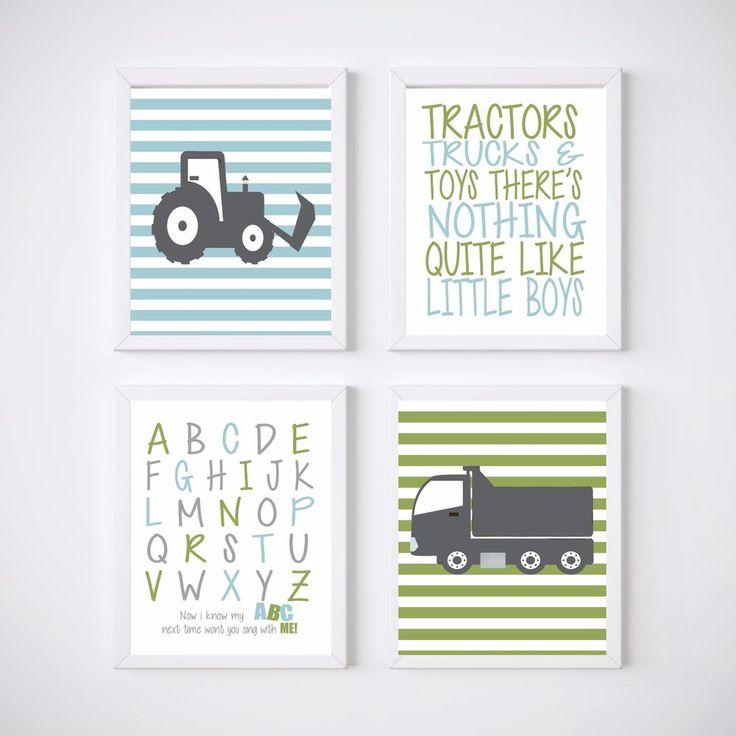 4 Print Trucks and Tractors Nursery Room Prints, Kids wall decor,  #NurseryPrint