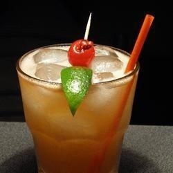 Mai Tai for a Crowd: 3 cups dark rum, 3 cups amaretto liquer, 9 cups OJ, 9 cups pineapple juice, 24 dashes grenadine (1 per serving)
