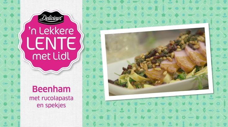 Recept voor beenham met rucolapasta en spekjes door Ramon Beuk #Lidl #Pasen #Kookvideo