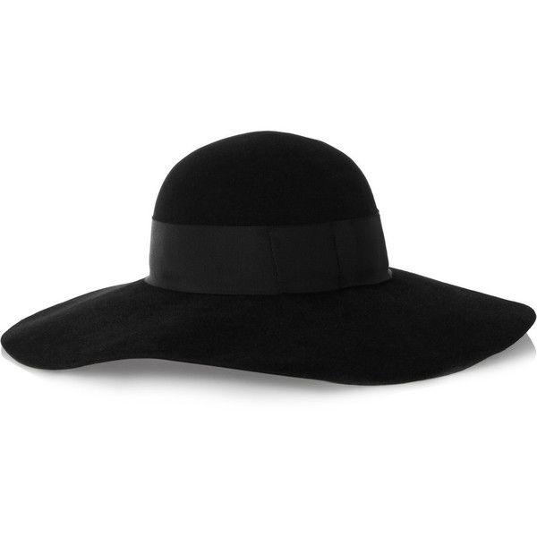 Eugenia Kim Honey wide-brim rabbit-felt hat (32.985 RUB) ❤ liked on Polyvore featuring accessories, hats, black, wide brim felt hat, rabbit felt hat, rabbit fur hat, black felt hat and black hat