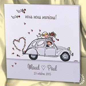 Faire,part de mariage humoristique en 2CV , MH14,046