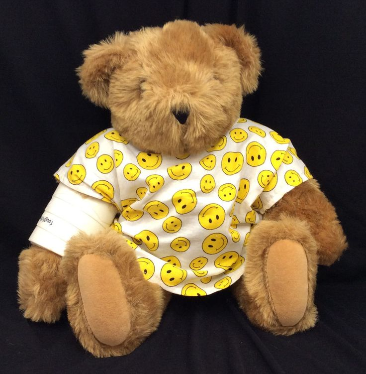 "Vermont Teddy Bear Smiley Face Hospital Gown Broken Arm Cast Get Well Soon 16"" #VermontTeddyBearCo #GetWell"