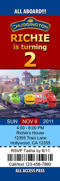 Chuggington Invitations Birthday Party Train Boys Personalized Custom Ticket #Birthday