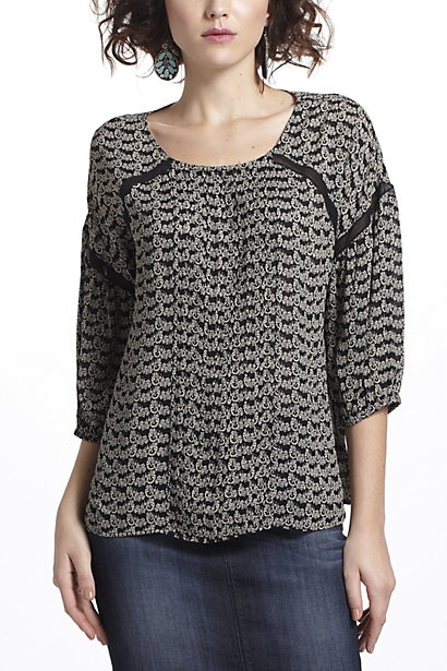 Slanted Lace Peasant Blouse #anthropologie