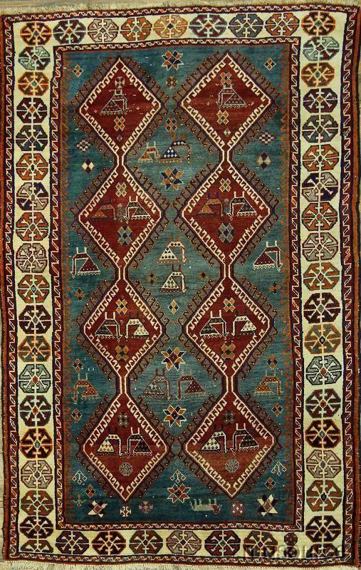 TOURQUISE BLUE! 4X7 GABBEH KASHKOLI PERSIAN ORIENTAL AREA RUG WOOL CARPET