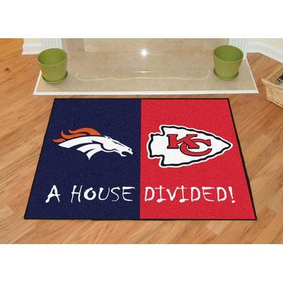 FANMATS NFL House Divided - Broncos / Chiefs House Divided Mat