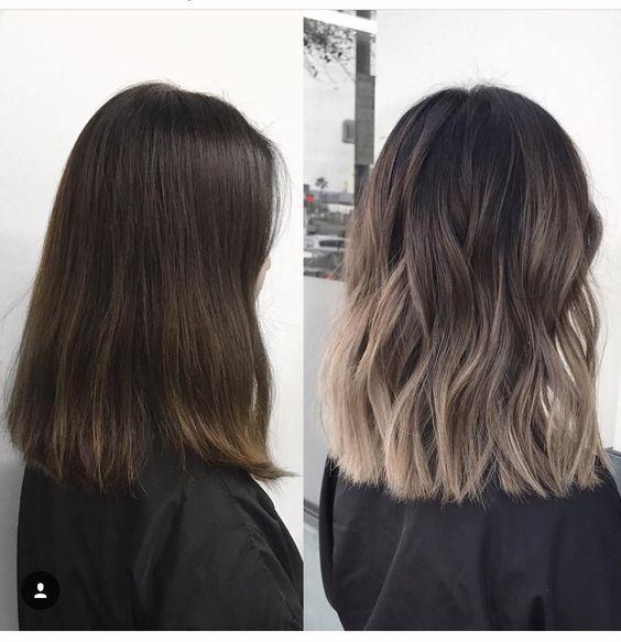 Dieser mittellange Haarschnitt hat lange Schichten mit abgehackten, strukturierten Spitzen. Super-F