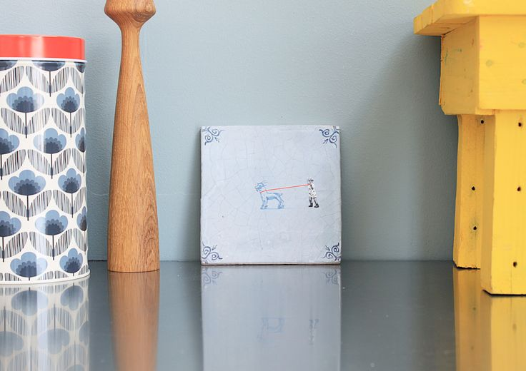 Art on Tiles - Made in Holland - Dutch Design by Marga van Oers. Title: Walking the Goat.