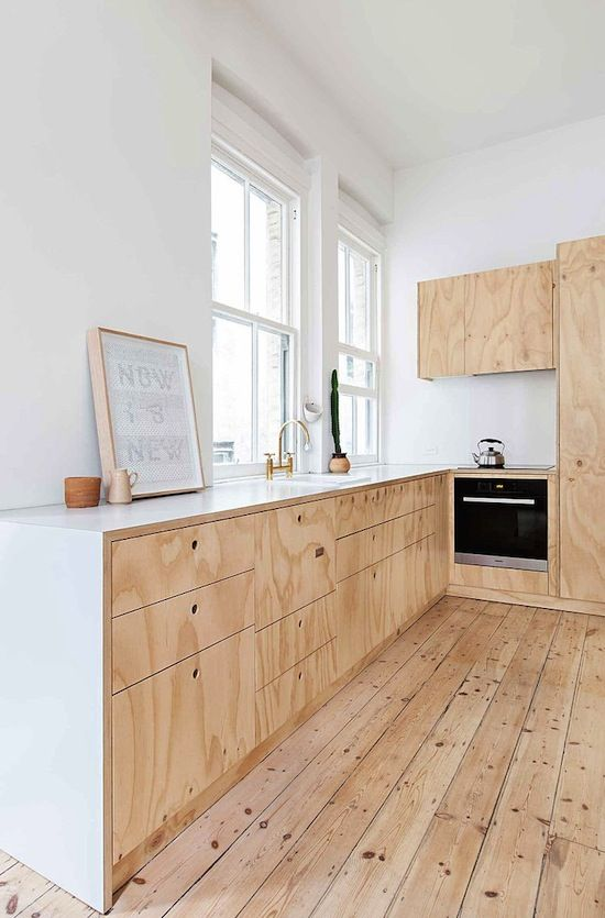 Understated Pine & Plywood Home In Australia | *kitchen *wood *floorboards *plywood *minimal