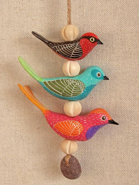 polymer clay bird mobile:                                                                                                                                                      More