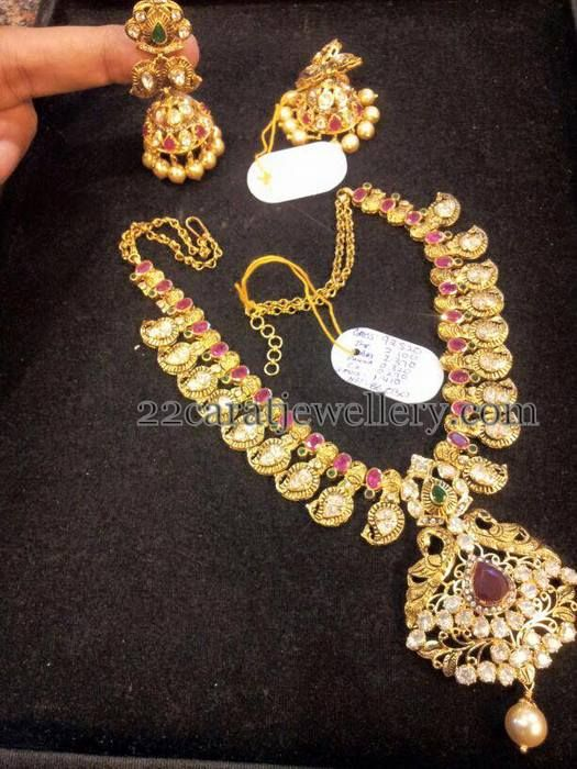Jewellery Designs: Pachi Set and Jhumka by Ganesh Jewelers