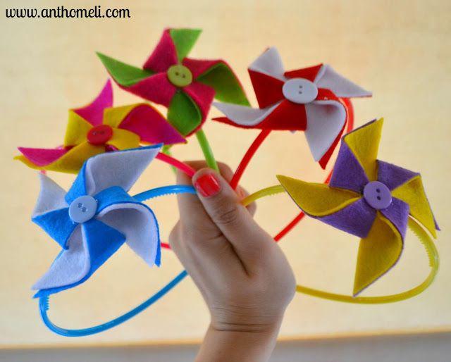 How to make felt pinwheel and transform it into a hair accessory. See on www.anthomeli.com Δείτε πώς να φτιάχνετε ανεμόμυλους από τσόχα στο www.anthomeli.com