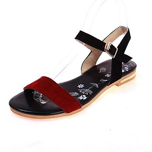 AmoonyFashion Women's Assorted Color Imitated Suede No-Heel Open Toe Buckle  Flats-Sandals >>> Visit the image link more details. (This is an affiliate  link ...