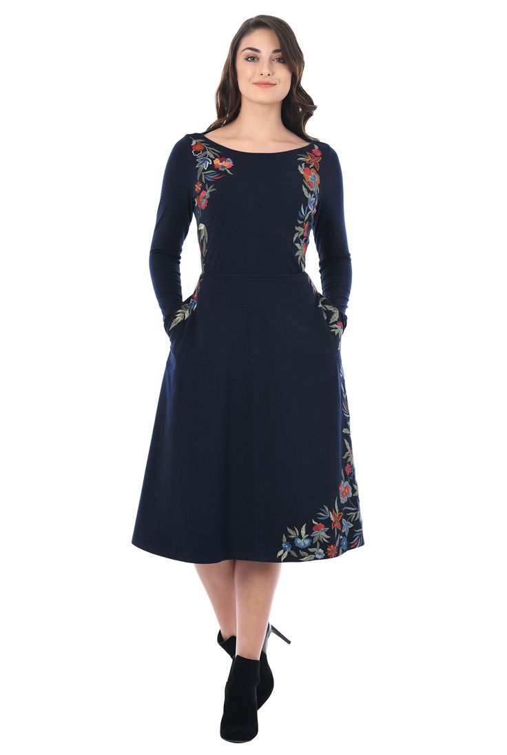 Beautiful embellished florals frame our cotton jersey knit dress designed with a boat-neck bodice and a flared skirt for day-to-night versatility.