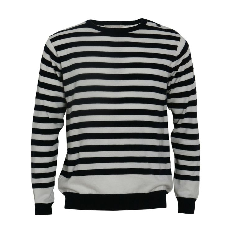 NOTA STRIPED SWEATER WITH SHOULDER BUTTONS